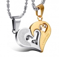 Парные кулоны сталь Heart золото