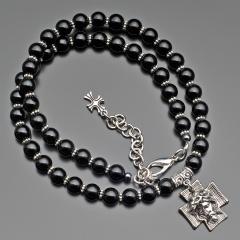 Чокер из бусин черного перламутра и крестом Rico la Cara 7149