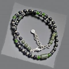 Чокер из бусин черного перламутра, агата, тигрового глаза змеевика пирита Rico la Cara 7151