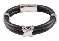 Кожаный браслет сталь черный KB-132