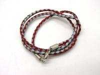 Чокер, шнур круглый плетеный из разного цвета кожи замки- серебро