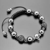 Мужской браслет шамбала из лавы, гематита, черепа  Rico La Cara  5189
