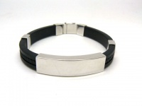 Браслет силиконовый с серебряными пластинами