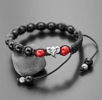 Браслет шамбала с шармом в форме слона и двумя красными камнями агата Rico La Cara 5188