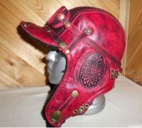 Шапка-ушанка Пилот с очками с мехом овчины RED1