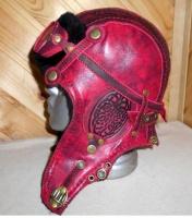 Шапка-ушанка Пилот с очками с мехом овчины RED2