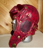 Шапка-ушанка Пилот с очками с мехом овчины RED3