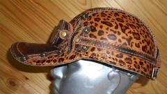 """Бейсболка с очками """"Леопард"""" демисезонная кожанная 1491"""