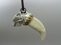 Кулон, амулет, оберег клык волка (натуральный) серебро, позолота