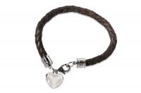 """Кожаный браслет SjW из плетеной кожи с замками и подвеской """"сердце"""" из стали LB024"""