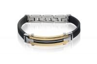 Кожаный браслет SjW из  кожи с замками и декоративной пластиной с позолотой из стали LB035