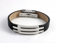 Кожаный браслет SjW из  кожи с замками и декоративной пластиной  из стали LB038