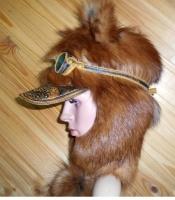 Шапка Пилот с очками с мехом лисы норвежской Огневки