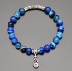 Браслет на резинке с камнями синего агата и подвеской в форме солнца Rico La Cara 6140