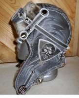 Шапка-ушанка Пилот с очками с мехом овчины SKULL2