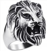 Кольцо из стали Лев вид2