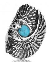 Кольцо из стали Орел бирюза