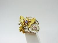 Кольцо серебро Бабочки в.2