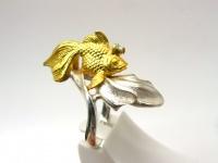 Кольцо серебро Золотая рыбка