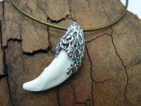 Кулон амулет клык волка серебро вид 2