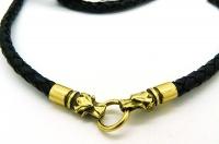 Чокер, шнур плетеный кожаный с головами волков золото 24 карат