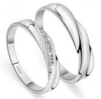 Кольца обручальные серебро, циркон парные OK-8