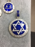 Кулон Звезда Давида серебро синяя белая эмаль