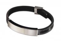 Кожаный браслет с планкой из стали LB028