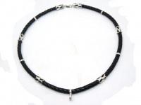 Шнур, чокер, гайтан, ожерелье, колье кожа серебро на шею под крест кулон вид 20