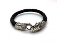 """Кожаный браслет  толщиной 8 мм """"Змея"""" серебро"""
