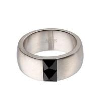 Кольцо из ювелирной стали с ониксом RS014