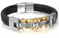 Кожаный браслет сталь золото KB-128