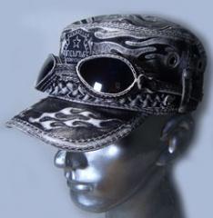 Кепка-немка с очками из кожи в стиле тату  коллекция зима
