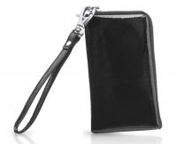 Сумочка для телефона  из черной кожи