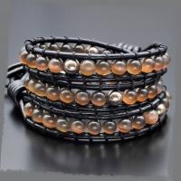 Кожаный браслет Чан Лу из бусин кошачий глаз, пирита Rico La Cara 4136