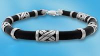 Мужские браслеты - силикон, серебро