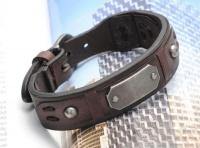 Кожаный браслет с металлической пластиной KB-134